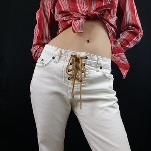 Vintage lace up flare jeans